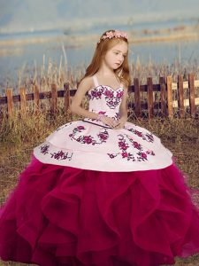 Fuchsia Straps Neckline Embroidery and Ruffles Kids Pageant Dress Sleeveless Lace Up