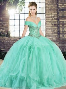 Dazzling Apple Green Sleeveless Tulle Lace Up Sweet 16 Dresses for Military Ball and Sweet 16 and Quinceanera
