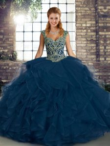 Blue Sweet 16 Quinceanera Dress Military Ball and Sweet 16 and Quinceanera with Beading and Ruffles Straps Sleeveless Lace Up