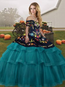Off The Shoulder Sleeveless Brush Train Lace Up Sweet 16 Dress Teal Tulle