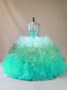 Sweetheart Sleeveless Tulle Quinceanera Dresses Beading and Ruffles Lace Up