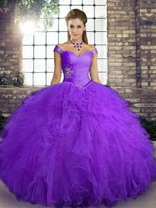 Dramatic Purple Sleeveless Beading and Ruffles Floor Length Quinceanera Gown