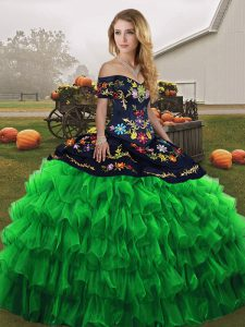 Green Off The Shoulder Neckline Embroidery and Ruffled Layers Sweet 16 Dresses Sleeveless Lace Up