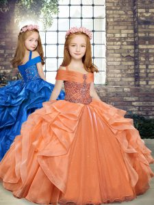 Super Orange Sleeveless Organza Lace Up Little Girls Pageant Gowns for Party and Wedding Party