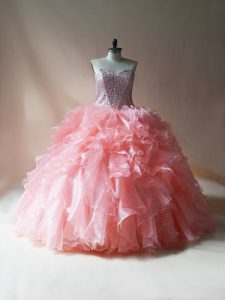 Floor Length Pink Quince Ball Gowns Organza Sleeveless Beading and Ruffles
