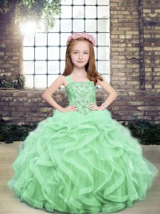 Apple Green Ball Gowns Organza and Tulle Straps Sleeveless Beading and Ruffles Floor Length Lace Up Pageant Gowns For Girls