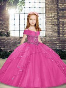 Sleeveless Beading Lace Up Girls Pageant Dresses