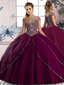 Nice Purple Ball Gown Prom Dress Tulle Brush Train Cap Sleeves Beading