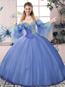 Low Price Blue Tulle Lace Up Sweetheart Sleeveless Floor Length Quinceanera Gowns Beading