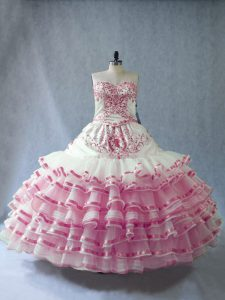 Vintage Pink And White Organza Lace Up Sweetheart Sleeveless Floor Length Sweet 16 Quinceanera Dress Embroidery and Ruffled Layers and Bowknot