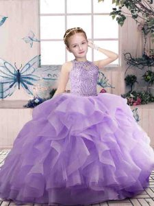 Excellent Scoop Sleeveless Kids Formal Wear Floor Length Beading and Ruffles Lavender Organza