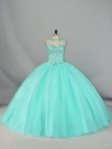Luxury Apple Green Tulle Lace Up Quinceanera Dresses Sleeveless Brush Train Beading