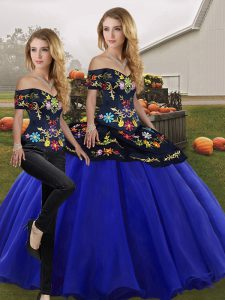 Suitable Sleeveless Floor Length Embroidery Lace Up Sweet 16 Dress with Royal Blue