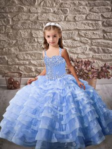 Custom Made Straps Sleeveless Brush Train Lace Up Little Girls Pageant Dress Blue Organza