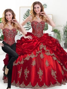 Free and Easy Organza Sweetheart Sleeveless Lace Up Beading and Appliques and Pick Ups Quince Ball Gowns in Wine Red