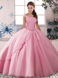 Spectacular Off The Shoulder Sleeveless Tulle Quince Ball Gowns Beading Brush Train Lace Up