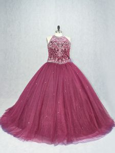 Sleeveless Brush Train Lace Up Beading 15 Quinceanera Dress
