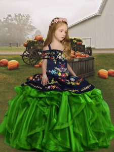 Straps Sleeveless Lace Up Little Girls Pageant Gowns Organza