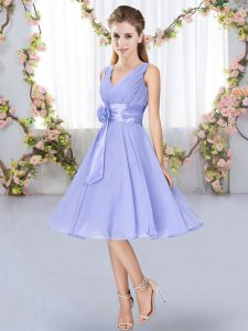 Superior V-neck Sleeveless Lace Up Quinceanera Dama Dress Lavender Chiffon