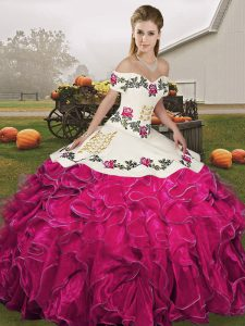 High Quality Off The Shoulder Sleeveless Organza 15th Birthday Dress Embroidery and Ruffles Lace Up