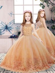 Scoop Sleeveless Little Girl Pageant Gowns Floor Length Lace and Appliques Gold Tulle