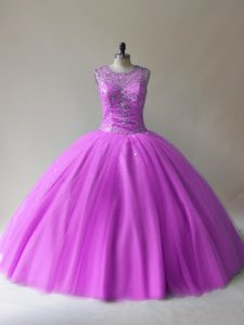 Pretty Lilac Ball Gowns Scoop Sleeveless Tulle Floor Length Lace Up Beading Vestidos de Quinceanera