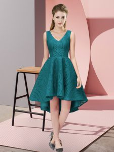 Simple Teal Sleeveless High Low Lace Zipper Dama Dress for Quinceanera