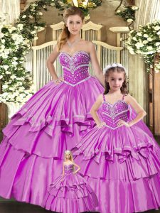Edgy Lilac Quinceanera Dress Sweet 16 and Quinceanera with Beading and Ruffled Layers Sweetheart Sleeveless Lace Up
