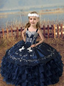 Straps Sleeveless Lace Up Little Girls Pageant Dress Navy Blue Organza