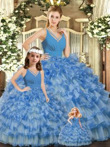 Cheap Blue Ball Gowns Ruffled Layers and Ruching Sweet 16 Dress Backless Organza Sleeveless Floor Length