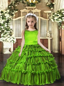 Floor Length Lace Up Little Girls Pageant Dress Olive Green for Party and Sweet 16 and Wedding Party with Ruffled Layers