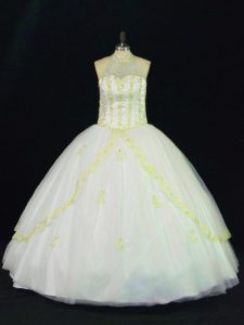 Yellow And White Tulle Lace Up Sweet 16 Dresses Sleeveless Floor Length Appliques