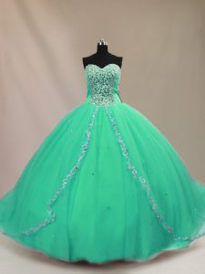 Beading 15 Quinceanera Dress Turquoise Lace Up Sleeveless Court Train
