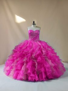 Decent Fuchsia Ball Gowns Sweetheart Sleeveless Organza Floor Length Lace Up Beading and Ruffles Quinceanera Gowns