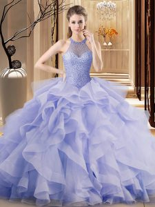 Lavender Ball Gown Prom Dress Sweet 16 and Quinceanera with Ruffles Halter Top Sleeveless Brush Train Lace Up