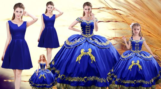Vintage Royal Blue Off The Shoulder Neckline Embroidery Quinceanera Dresses Sleeveless Lace Up