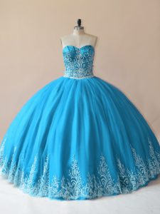 Modern Baby Blue Ball Gowns Embroidery Quinceanera Dresses Lace Up Tulle Sleeveless Floor Length