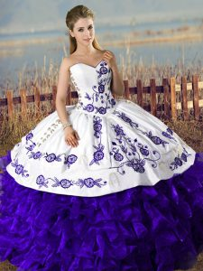 Pretty Purple Sweet 16 Dresses Sweet 16 and Quinceanera with Embroidery Sweetheart Sleeveless Lace Up