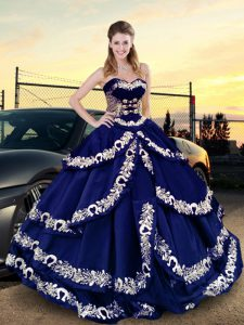 Customized Embroidery and Ruffled Layers Quinceanera Gown Royal Blue Lace Up Sleeveless Floor Length