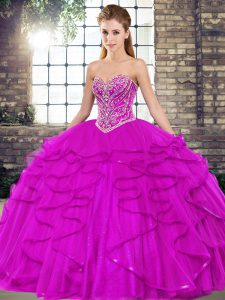 Fine Floor Length Lace Up Ball Gown Prom Dress Fuchsia for Military Ball and Sweet 16 and Quinceanera with Beading and Ruffles