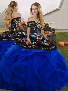 Blue And Black Ball Gowns Off The Shoulder Sleeveless Tulle Floor Length Lace Up Embroidery and Ruffles Quinceanera Dresses