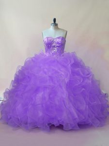 Sweetheart Sleeveless Tulle 15 Quinceanera Dress Beading and Ruffles Lace Up
