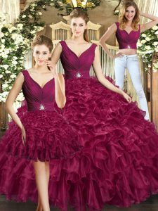 Superior Sleeveless Backless Floor Length Ruffles 15 Quinceanera Dress