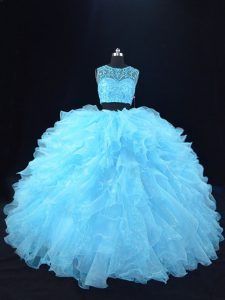 Gorgeous Floor Length Ball Gowns Sleeveless Aqua Blue Quince Ball Gowns Zipper