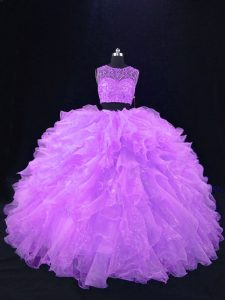 Ideal Lavender Scoop Zipper Beading and Ruffles Quinceanera Dress Sleeveless