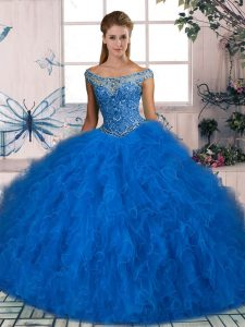 Fantastic Off The Shoulder Sleeveless Lace Up Sweet 16 Dress Blue Tulle
