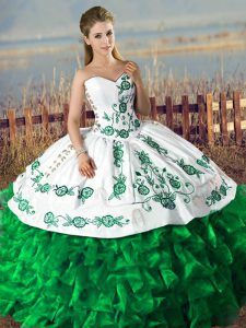 Dark Green Sweetheart Neckline Embroidery and Ruffles 15th Birthday Dress Lace Up