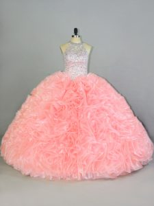 Halter Top Sleeveless Lace Up Sweet 16 Quinceanera Dress Peach Organza