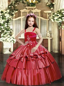 Sleeveless Taffeta Floor Length Lace Up Pageant Dresses in Red with Beading and Ruffled Layers