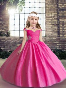Ball Gowns Girls Pageant Dresses Hot Pink Straps Tulle Sleeveless Floor Length Lace Up